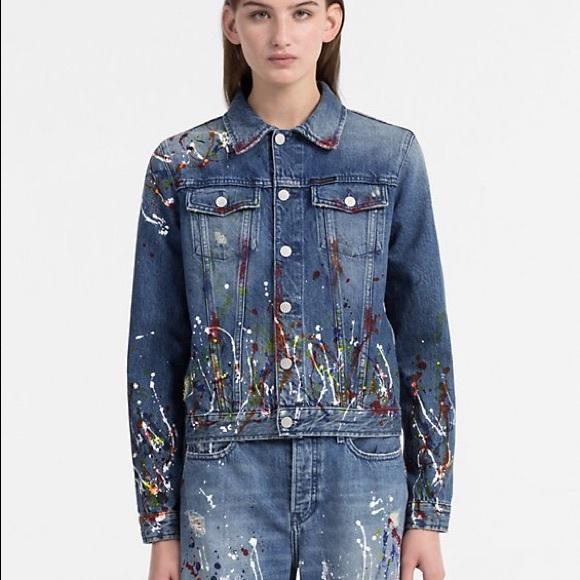 cba3001698d Calvin Klein Paint Splatter Jean Jacket NWT